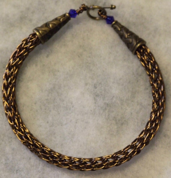 Antique Bronze Viking Knit Bracelet w/ blue beads