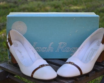 Brand New With Original Box White/Brown Vintage 60's Jack Rogers Tortoise Heel Pumps size 6M