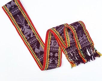 Oaxacan Jalieza Ceremonial Belt / Mexican Sash / Mexican Handwoven Belt / Ethnic  Belt