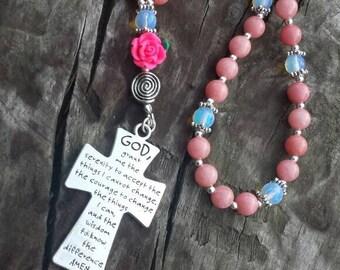 Prayer beads, Serenity Prayer, Rosary, Gift