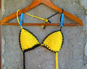 Crochet Top bikini, Yellow Top Bikini