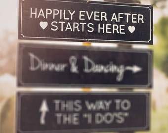 Chalkboard Wedding Sign | Happily Ever After Starts Here Wedding Sign | Happily Ever After Sign