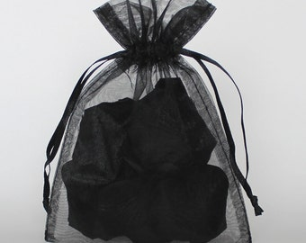 Organza Gift Bags, Black Sheer Favor Bags with Drawstring for Packaging, pack of 50