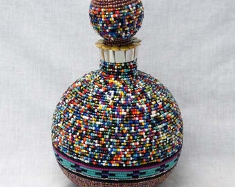 Native American Hand Beaded Decanter