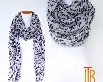 White Infinity Scarf, Black Bird Print Scarf, Spring Summer Shawl Scarves, Fashion Women's Scarf, Bohemian Boho Scarf, Gifts For Her