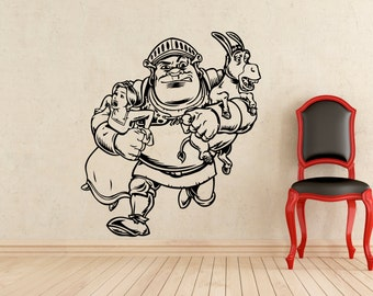 Shrek Wall Decal Princess Fiona Donkey Shrek Cartoon Vinyl Sticker Home Interior Kids Room Nursery Art Decoration Mural (389z)