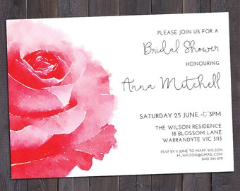 Rose invitation, customised for any occasion - bridal shower, baby shower, birthday party, save the date, wedding, digital printable