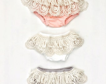 Gypsy Bohemian style Baby Bloomers | lace bloomers | fringe bloomers | boho