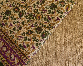 5.6 yards of Sari Fabric, Indian Cotton Fabric, Beige and Green Sari Fabric, Cotton Sari Fabric