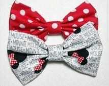 Bows // bow set // minnie bow // polka dot bow // fabric bow // disney bow // hair bow // 5 inch bow // hair clip // minnie mouse bow //