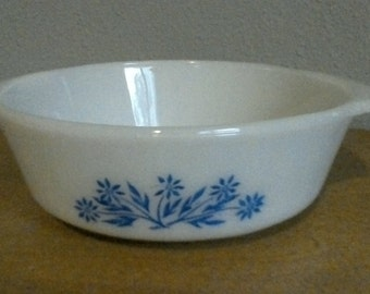 Vintage Fire King by Anchor Hocking Blue Cofn Flower Oval Casserole Dish