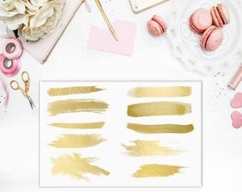 Gold Brush Strokes & Splatters - Set of 20 - Watercolor Clipart - Watercolor Brush Strokes - Paintbrush Strokes - Castaway Design Co
