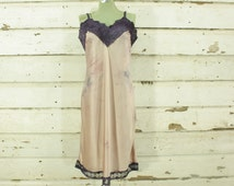 vintage 1960s tie dyed purple & blush pink hand dyed satin slip dress gown lace details M L