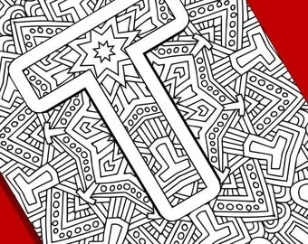 Alphabet Adult Coloring Pages  Instant Download  Letter D from