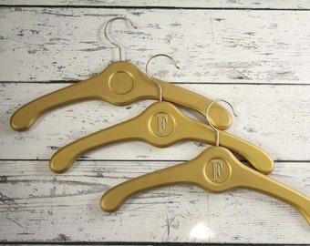 Vintage Set of 3 Solid Wood Hangers Hollywood Regency Style Gold Painted Metal Hook Circle Detail Initial Letter F