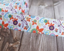 "Dragonfly ribbon - 1"" grosgrain ribbon - Flower ribbon - 3 or 5 yards - Baby shower ribbon - Party favor DIY - DIY hair bows - How to make"