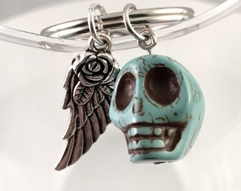 Skull and wing keychain, angel wing keychain, skull head keychain, guardian angel keyring, unique and cool keychain, Harley, Tattoo lover