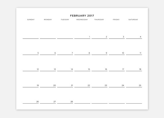 Minimalist Calendar Printable : Monthly calendar printable minimalist
