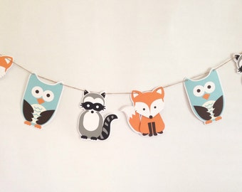 Woodland Garland- Woodland Banner- Fox Banner - Fox Garland - Woodland Party- Woodland Decor- Woodland Nursery - Woodland Baby Shower -- Owl