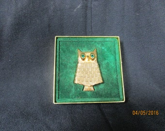 Mid Century Modern Avon Owl Compact and Pin
