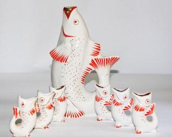 Porcelain Fish Drinking Set Fish Shape Fish Home Decor Gift for Fisher Liquor Set Fish Kitchen Decor Fish Carafe Soviet Vintage Fish