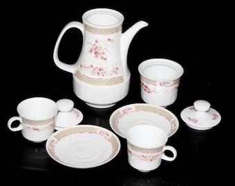German Vintage Coffee Set White Porcelain Ceramic Coffee Pot Vintage Tea Set Coffee Service Cup and Saucer Sets Freiberger Porcelain