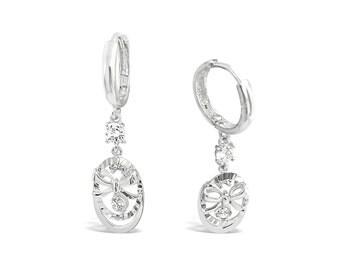 Silver Bow Earrings w Cubic Zirconia Accent - Sterling Silver Drop Earrings - Dainty Bow Earrings - Silver Dangle Earrings - Bow Charm