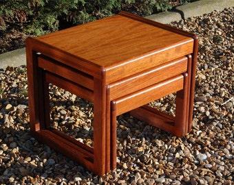 Smashing Vintage Retro Nest of Three Teak Tables - Nested Tables 1960's 1970's