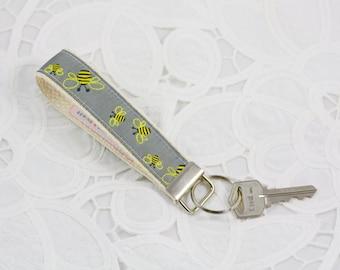 Bee Keychain, Wristlet, Key Fob