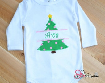 Christmas Tree Applique Shirt or Bodysuit
