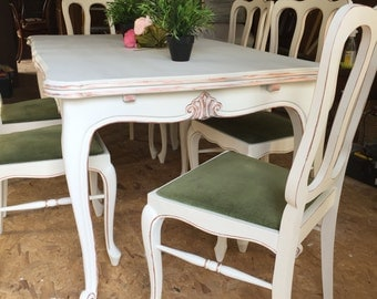 SOLD~Stunning Carved French Provincial Shabby Chic Dinning Table & 6 chairs Annie Sloan Chalk