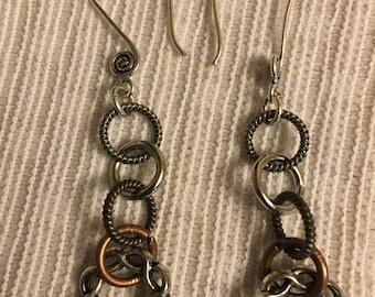 Handmade Mixed Metals Stampings, Filigree Earrings