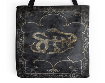 Gothic, Book of Sin Tote Bag, Bookbag, 3 Sizes Available