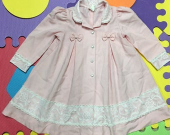 Vintage cotton candy pink girls toddlers 4-t dress jacket/coat.