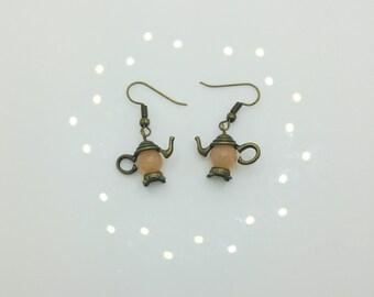 Peach Agate Teapot Earrings