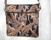 crossbody bag, cross body purse, brown giraffe design, shoulder strap, 2 zippers and back pocket, woman, teen, tween, birthday gift