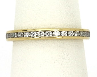 Tiffany 18k Diamond Ring Eternity Band Yellow Gold Ladies