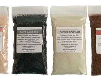 Gourmet Sea Salt Sampler: Himalayan, French Grey, Red Alaea, Black Lava, 6 oz. each, 24 total oz.