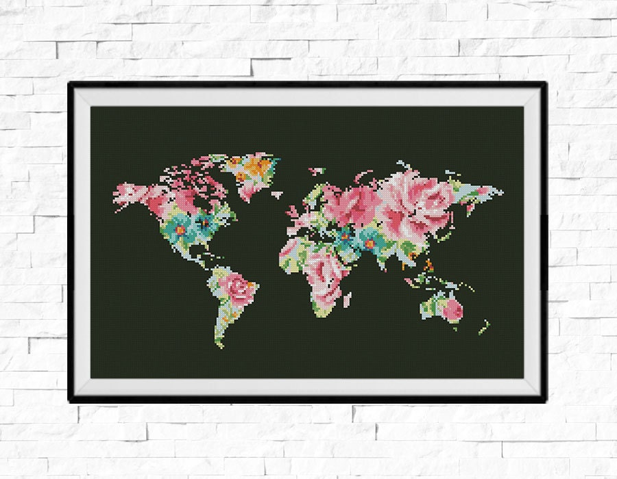 Bogo free world map cross stitch pattern floral world map this is a digital file gumiabroncs Images