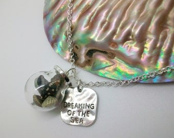 Dreaming of the sea -  (small) Glass orb necklace with shells. Beach, holiday necklace