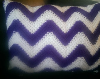 crocheted chevron accent pillow
