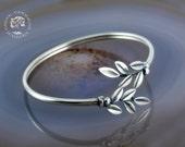 olive leaves silver bracelet, leaf bracelet, olive leaf bracelet, greek bracelet, sterling silver bracelet, greek jewelry, greek, olive leaf