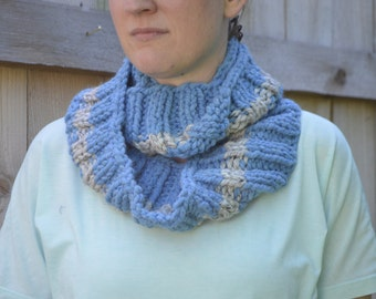 Two-Toned Chunky Knit Cowl, Infinity Scarf- Blue and Gray