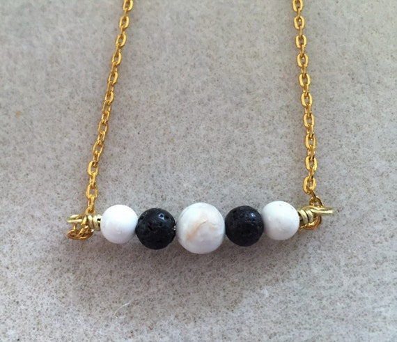 Lava Diffuser Necklace. Inline Style Pendant with White Turquoise and Lava Stone Beads for Essential Oils Diffusing. Diffuser Jewelry.