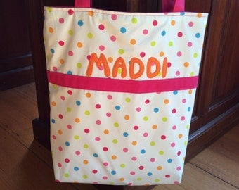 Personalised Tote, Beach, Shopping, Baby, Toy Bag, Fuchsia Pink And Multi Colour Polka Dot, 37cm x38cm