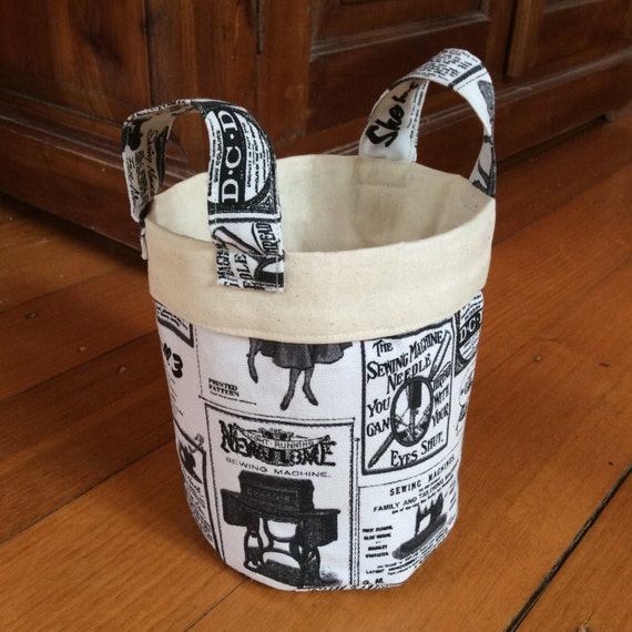 Vintage Newspaper, 15cm x 14cm Fabric On Trend Storage Container, Black, Cream/Off White & Calico