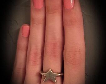 vintage modernist sterling silver star ring marked 925 unique star ring