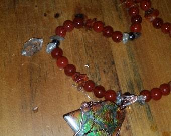 Handmade Ammolite, Carnelian,Hematite, and Rutilated Quartz Pendant Necklace