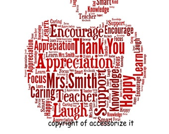 A4 or 5x7 Size Personalised Apple Word Art Print *Teacher Thank You Gift  !  *Digital File Also Available*