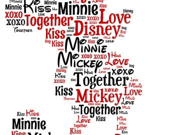 5x7 or A4 Personalised Mickey Mouse Word Art Print *Disney* Unique Gift Idea * Digital File Also Available